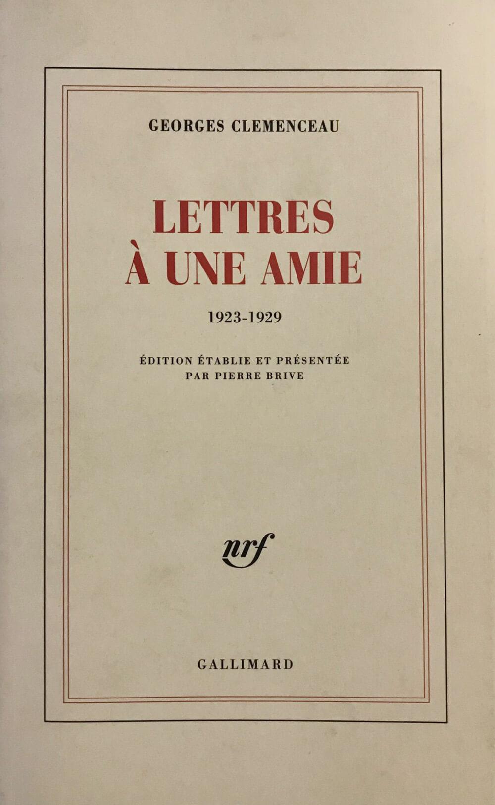 LETTRE À UNE AMIE - Georges Clemenceau - Musée Clemenceau